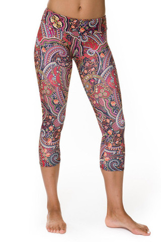 Onzie Hot Yoga Capri Pant - Paisley Red