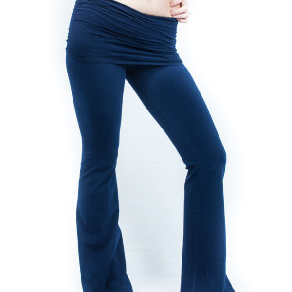 Hard Tail Scrunchy Waistband Wide Flare Pant - Ink