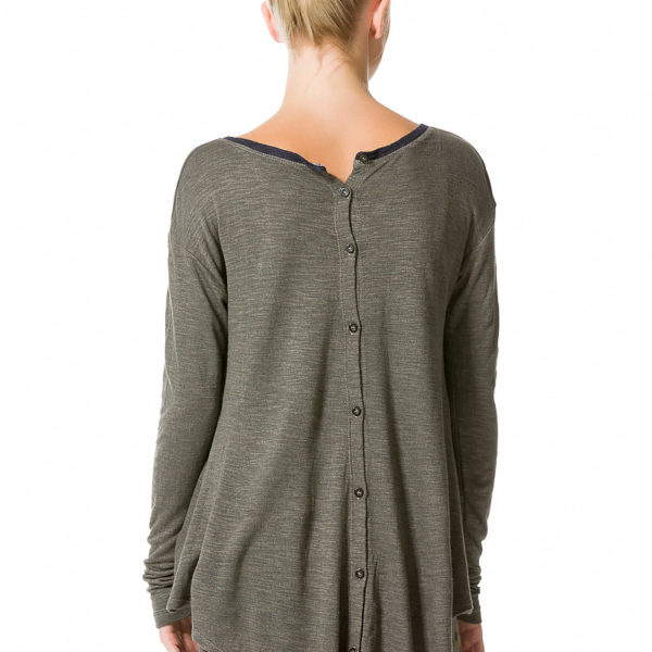 Hard Tail Long Sleeve Button Back T - Arrow