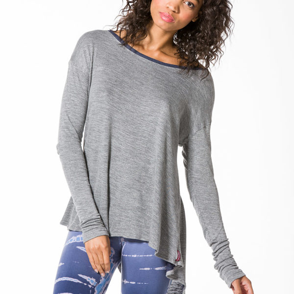 Hard Tail Long Sleeve Button Back T - Heather
