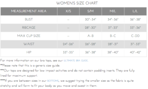 Onzie Size Guide